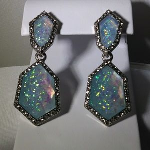 Olivia Welles Silver & Blue Rhinestone Earrings